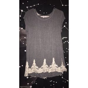 Gray & Cream Lace Detailed Top
